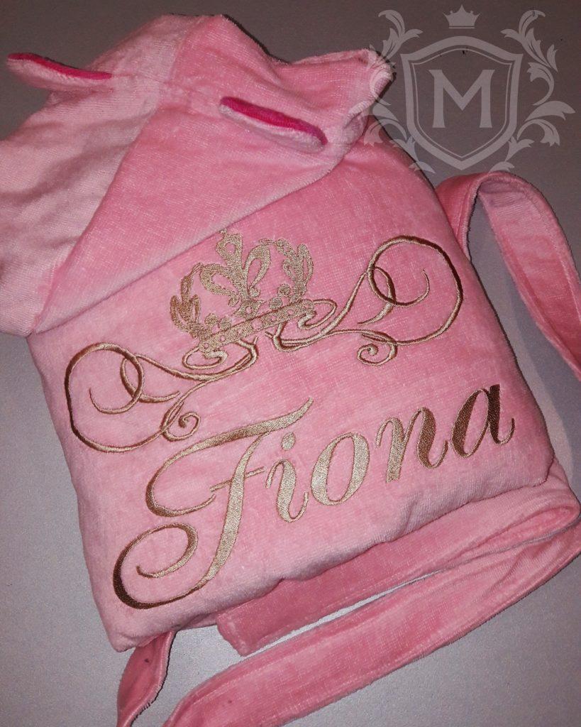 розовый детский халат с выишвкой