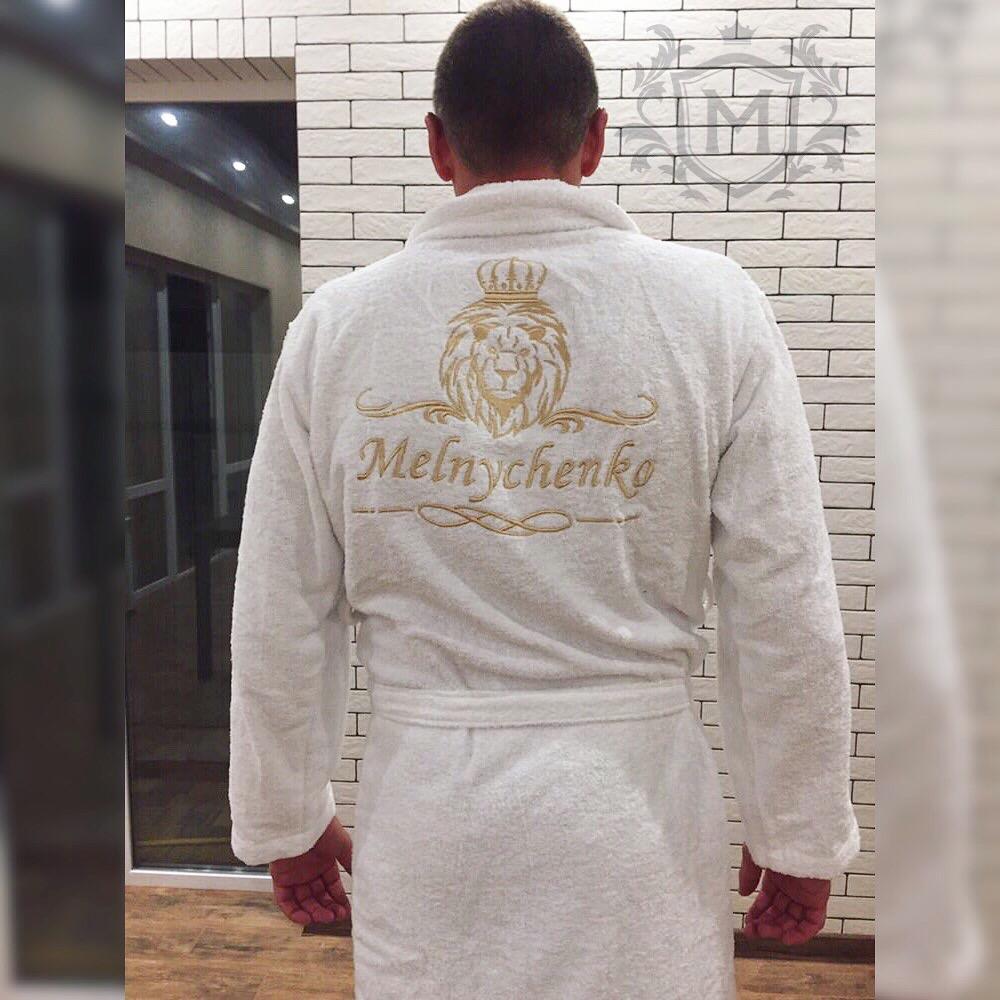 белый махровый именной халат