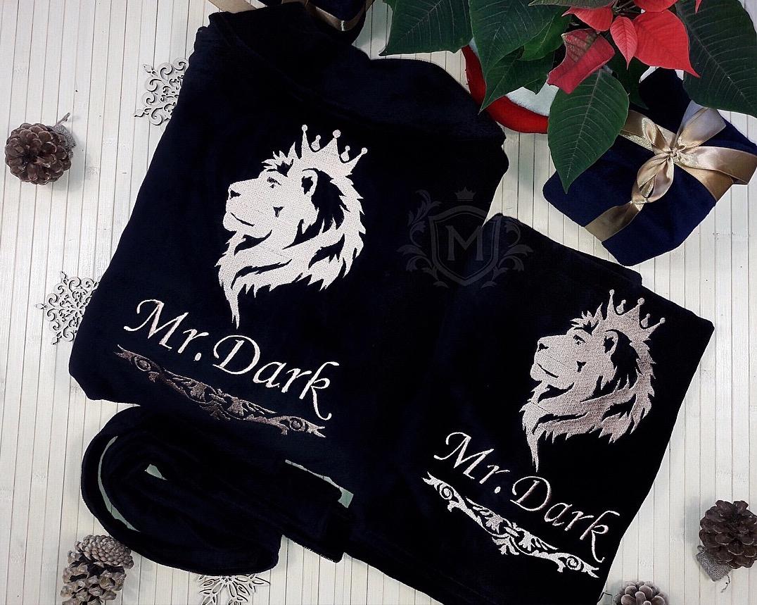 черный именной халат