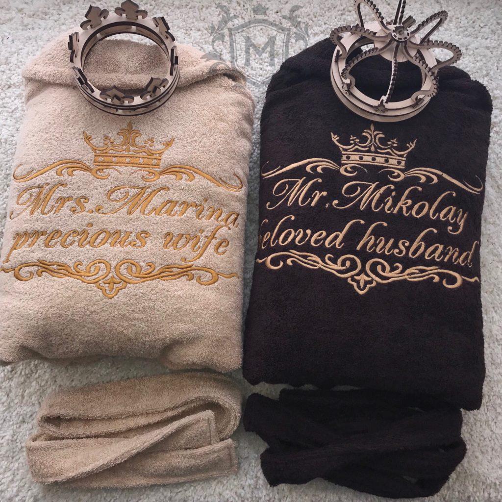 парные именные халаты на свадьбу
