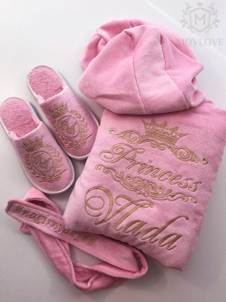 именной розовый набор халат, тапочи
