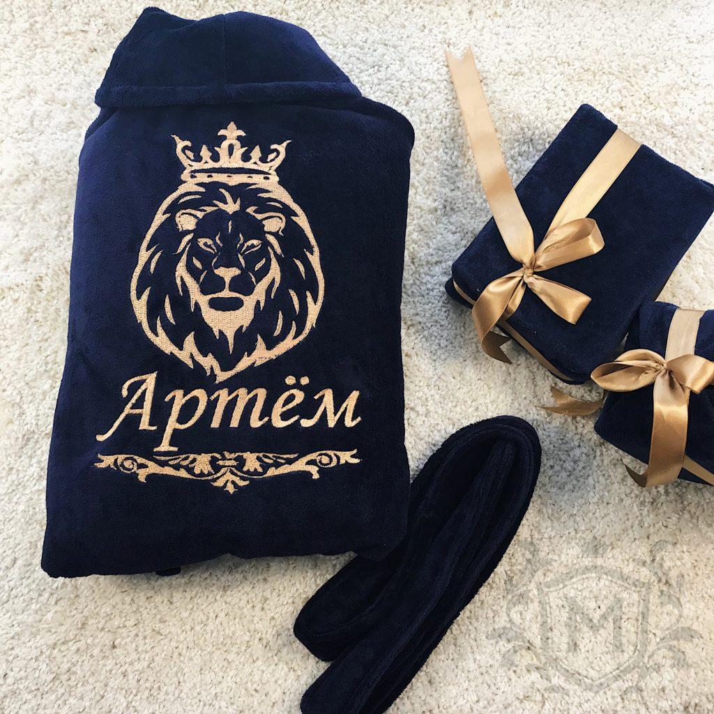 синий именной халат со львом