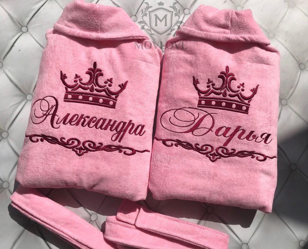 женские розовые халаты с вышивкой