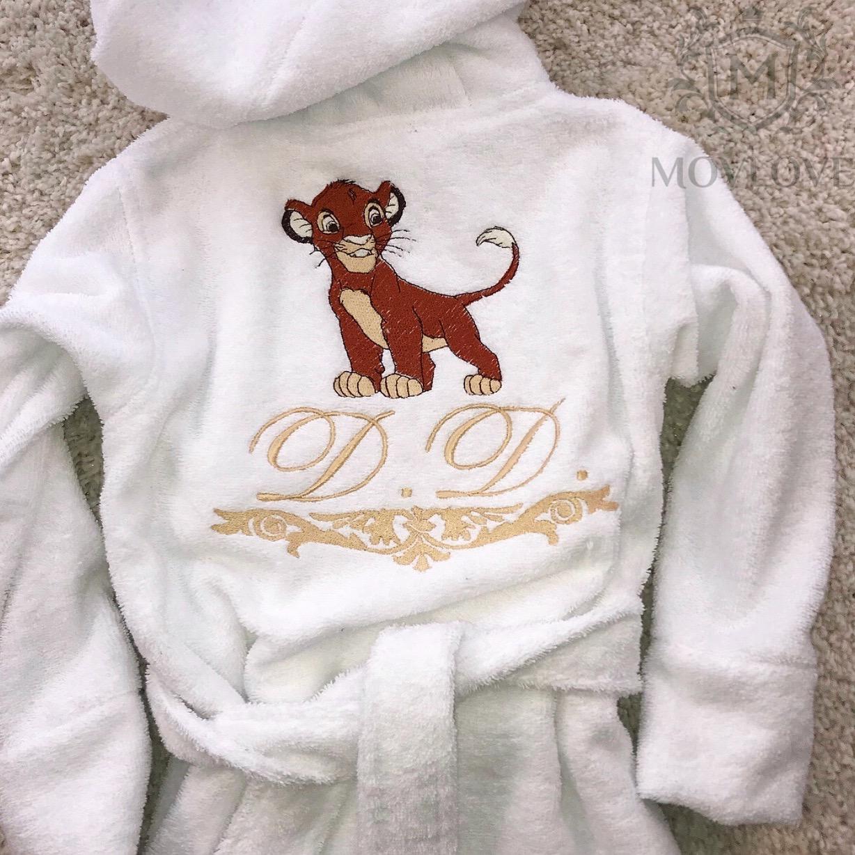 детский халат с именной вышивкой
