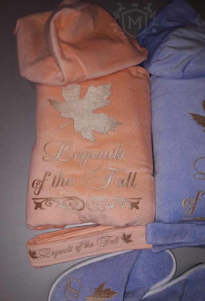 халат с вышивкой персиковый