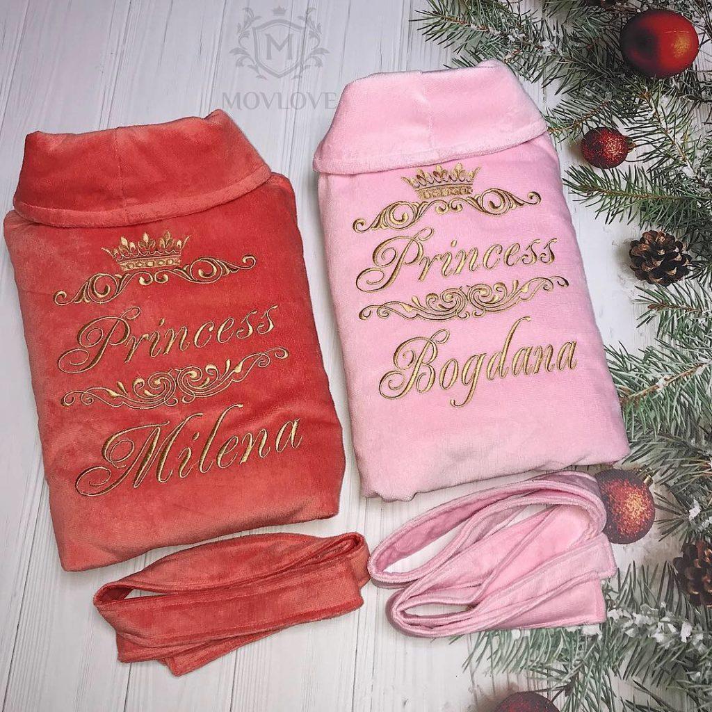 парные именные халаты