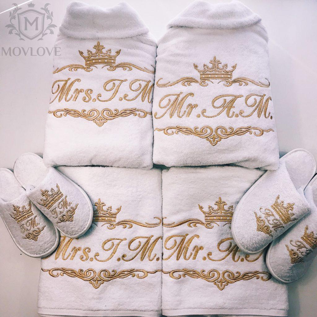 набор халат, полотенце, тапочки с вышивкой