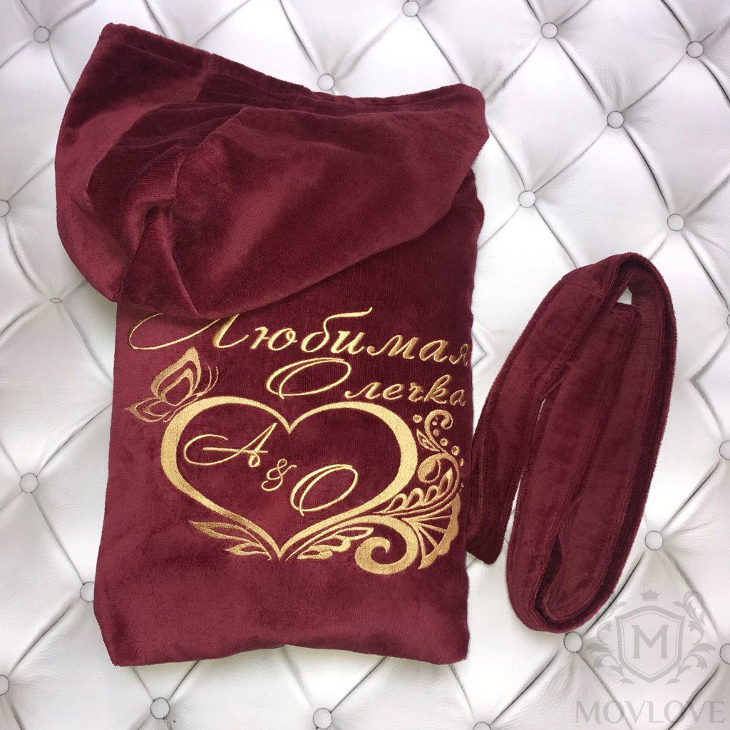 бордовый халат для любимой