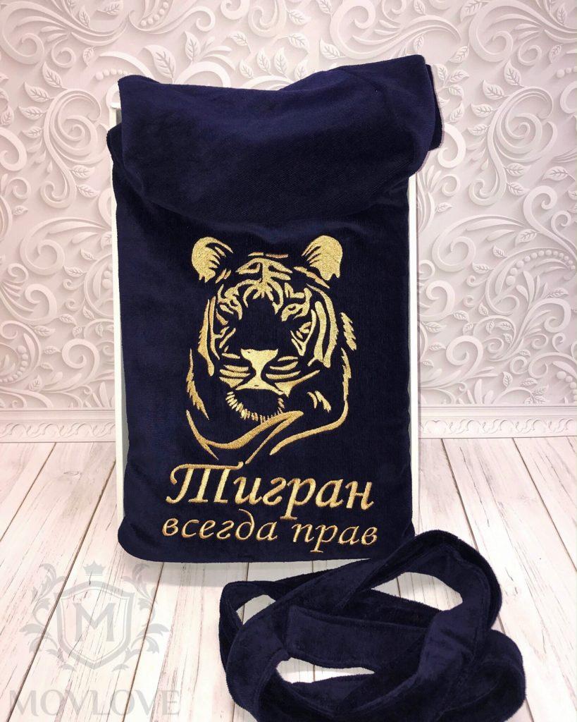 синий халат с вышивкой тигра