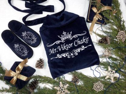 подарок на Новый Год - именной халат тапки полотенце