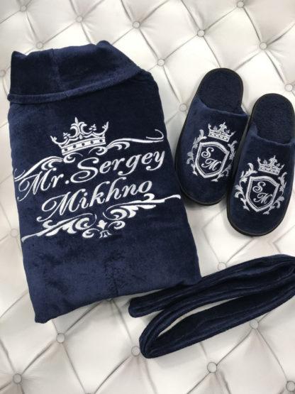 набор халат полотенце тапочки для клиентов Movlove