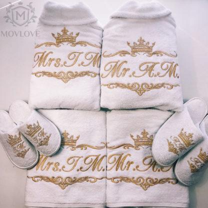 набор именные халаты, полотенца и тапочки с вышивкой MOVLOVE