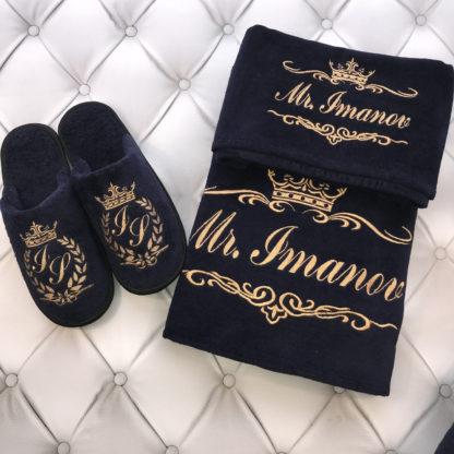 тапочки с надписью в комплекте с полотенцами с вышивкой