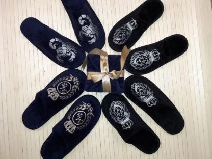 именные тапочки с вышивкой для всей семьи