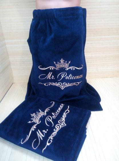 юбка килт с вышивкой именной короны с завитками в комплекте с полотенцем банным именным