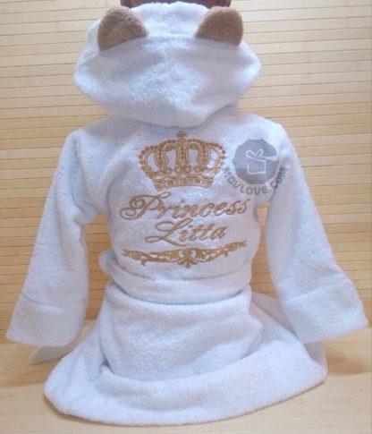 белые махровые именные халаты для детей с капюшоном и ушками с уникальной вышивкой