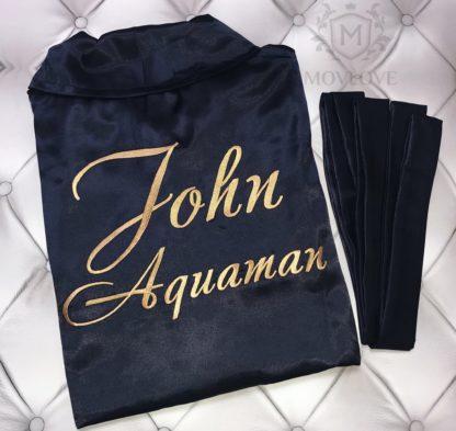 халат с надписью атласный черный для Джона Аквамена